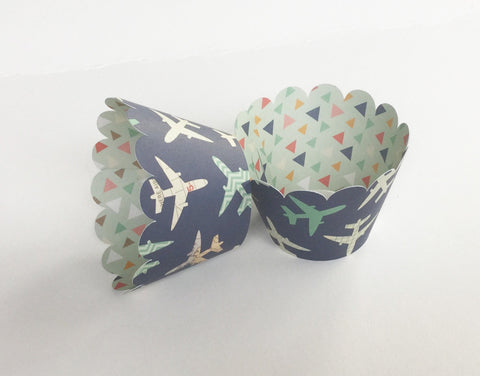 Double Sided Cupcake Wrapper Navy Blue with Multi Color Airplanes For Birthday Celebration, Themed Baby Shower