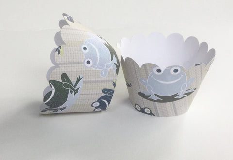 Glitter Frog Cupcake Wrapper For Birthday Celebration, Baby Shower