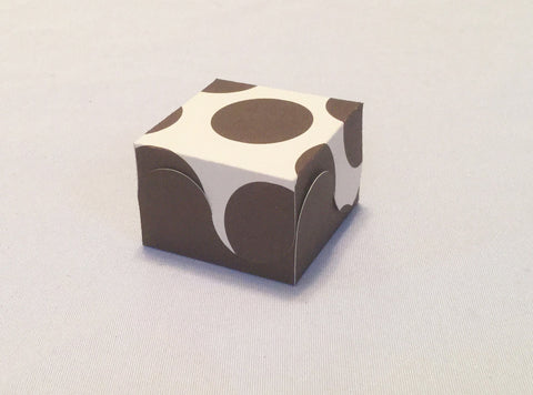 12 Brown, Ivory Polka Dot Scallop Favor Boxes for Weddings, Birthday Parties, Bridal Showers, Baby Showers, Candy Box, Gift Box, Jewelry Box