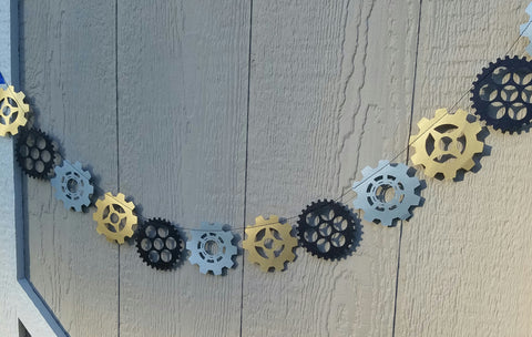 Steampunk Gears Metallic Garland