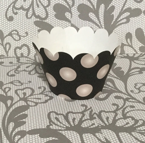 Black and White Pearl Cupcake Wrappers