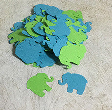 Turquoise and Green Die Cut Elephants for Scrapbooking, Party Confetti, Card Making