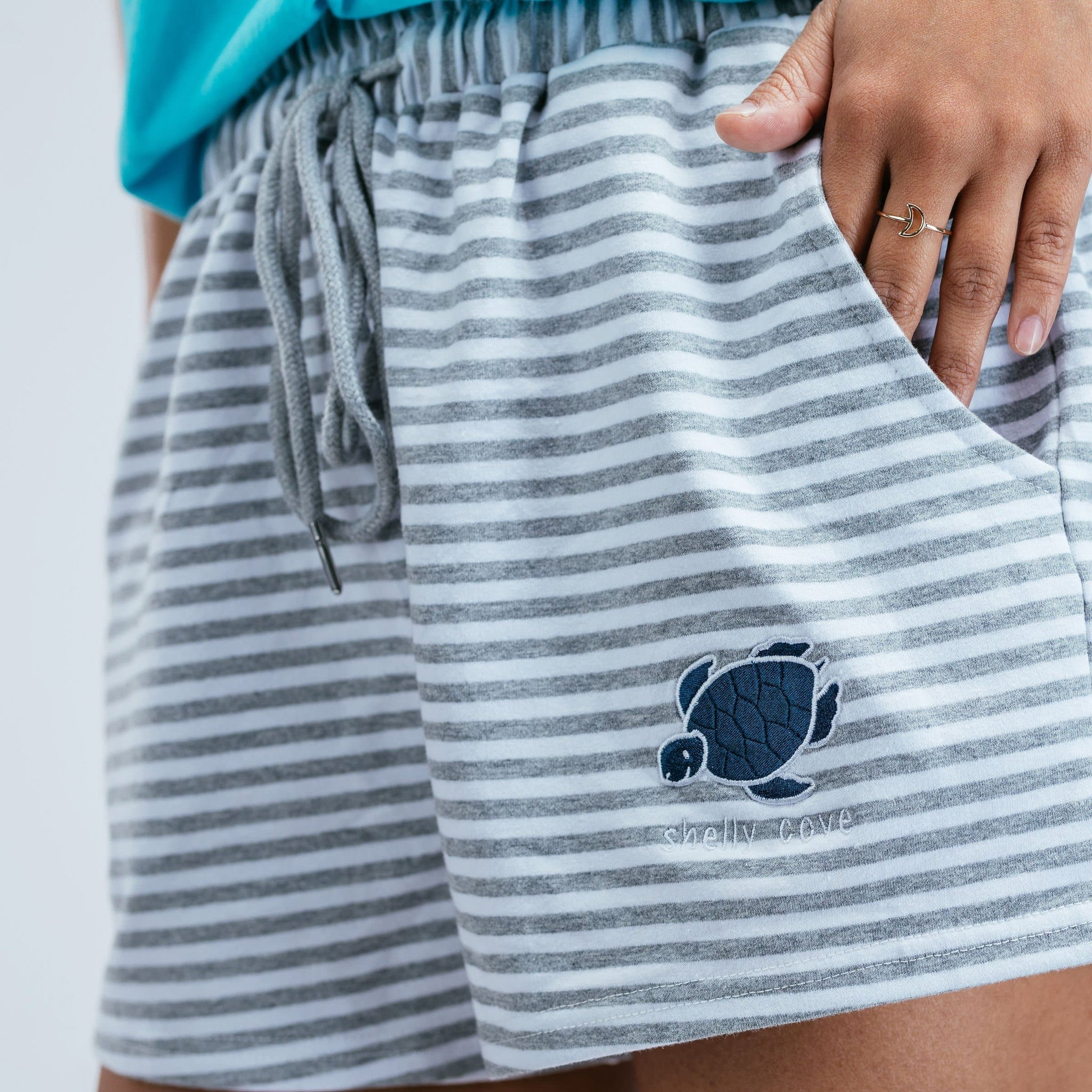 Striped Lounge Shorts- Grey - Shelly Cove