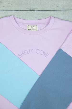 Purple Arm Block Cropped Crew - Shelly Cove