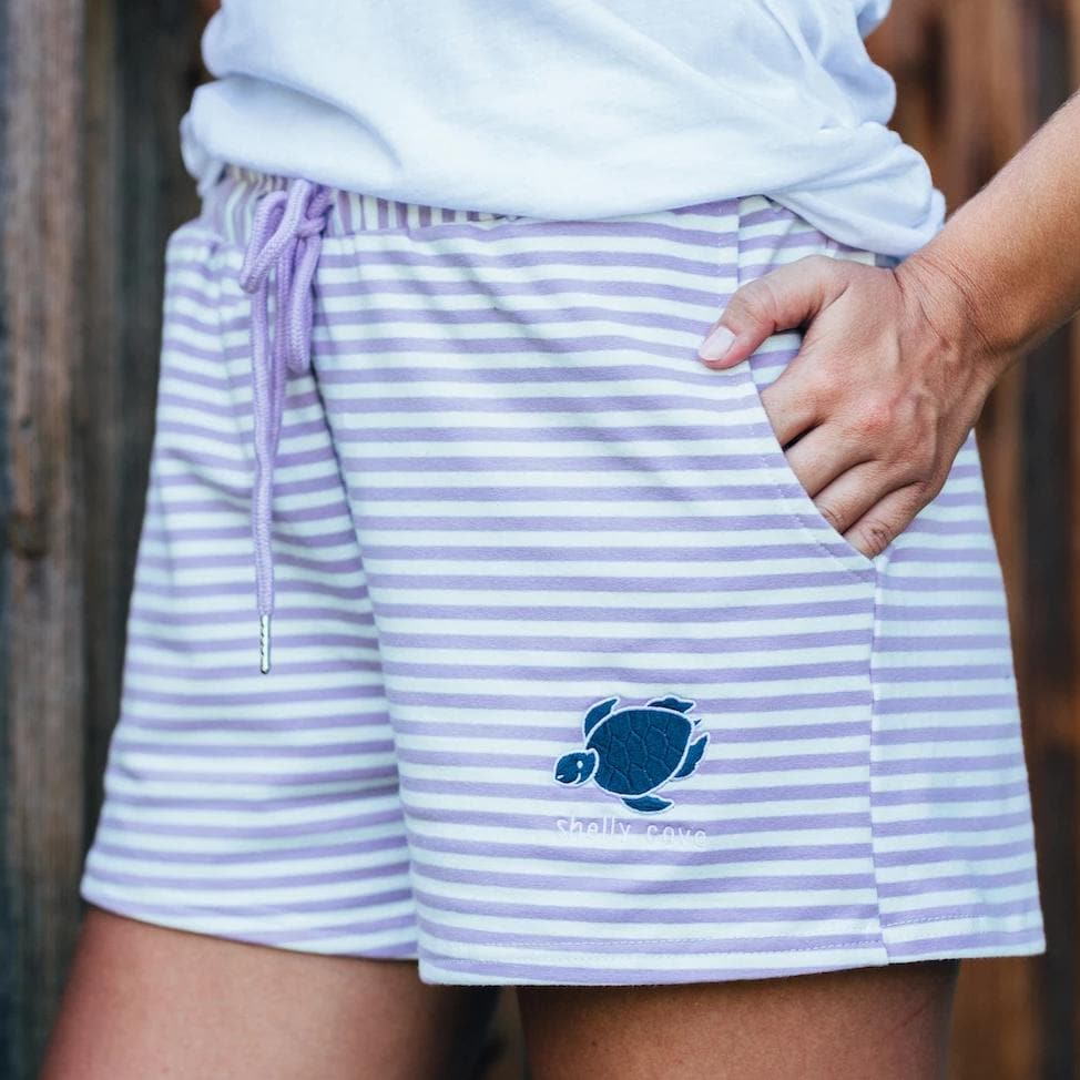 Striped Lounge Shorts- Purple - Shelly Cove