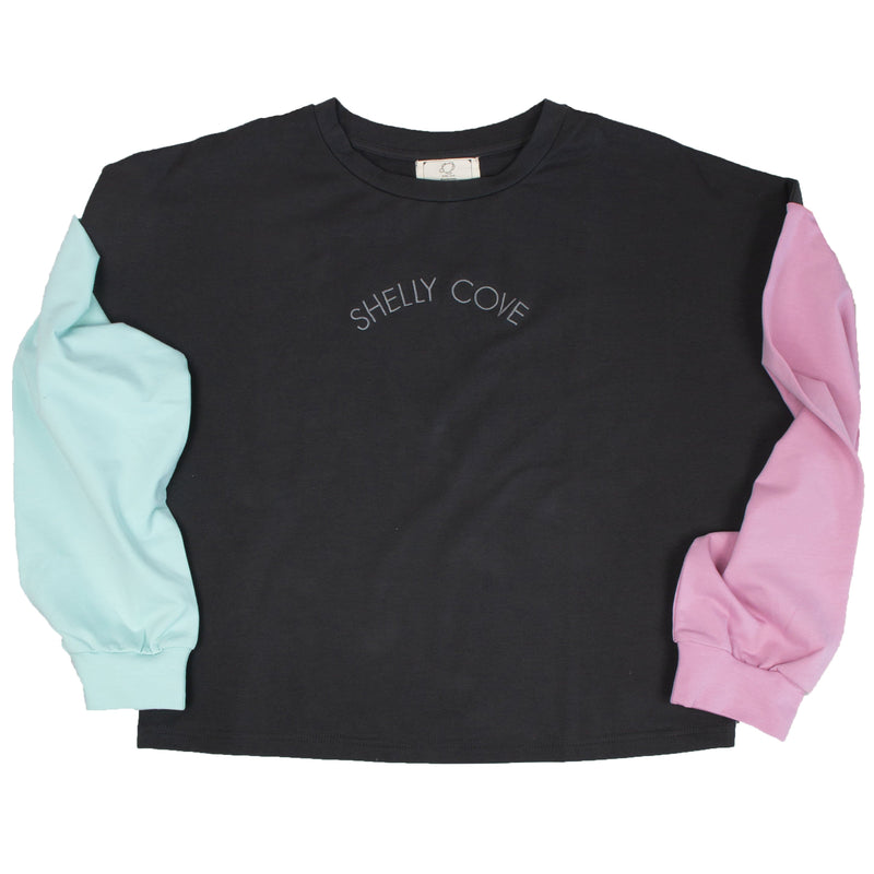 Black Arm Block Cropped Crew - Shelly Cove