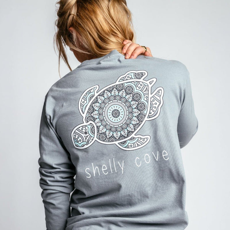 Tile Medallion Long Sleeve Pocket Tee - Shelly Cove