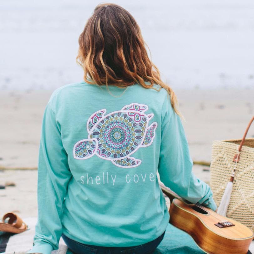 Summer BoHo Shelly™ Mandala Long Sleeve Pocket Tee in Chalky MInt - Shelly Cove