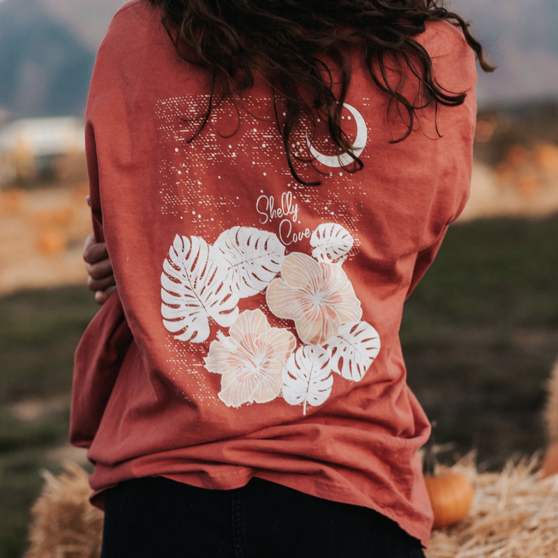 Sunset Hibiscus Long Sleeve Tee - Shelly Cove