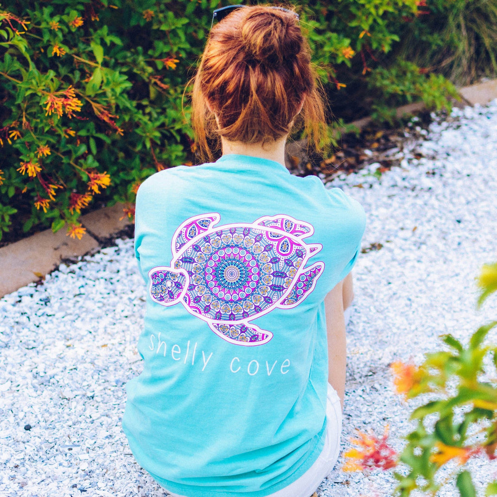 Summer Boho Shelly™ Mandala Short Sleeve Tee in Chalky Mint - Shelly Cove