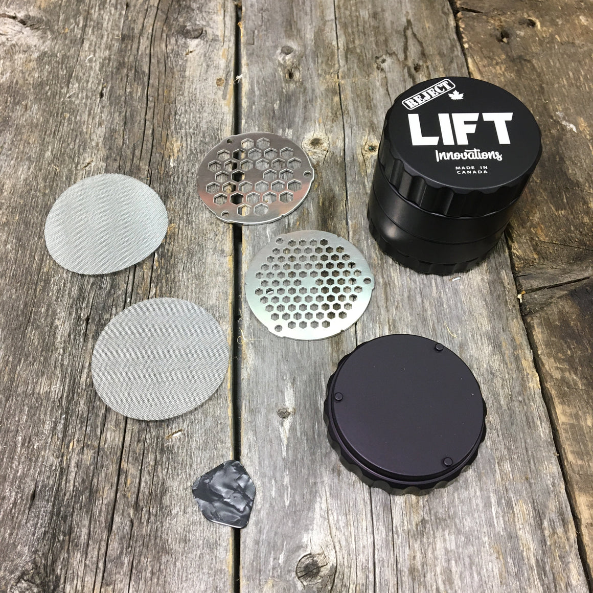 REJECT 4 Piece BLACK Grinder With Accessories LIFETIME WARRANTY Made with parts that have a scratch, dent or off color