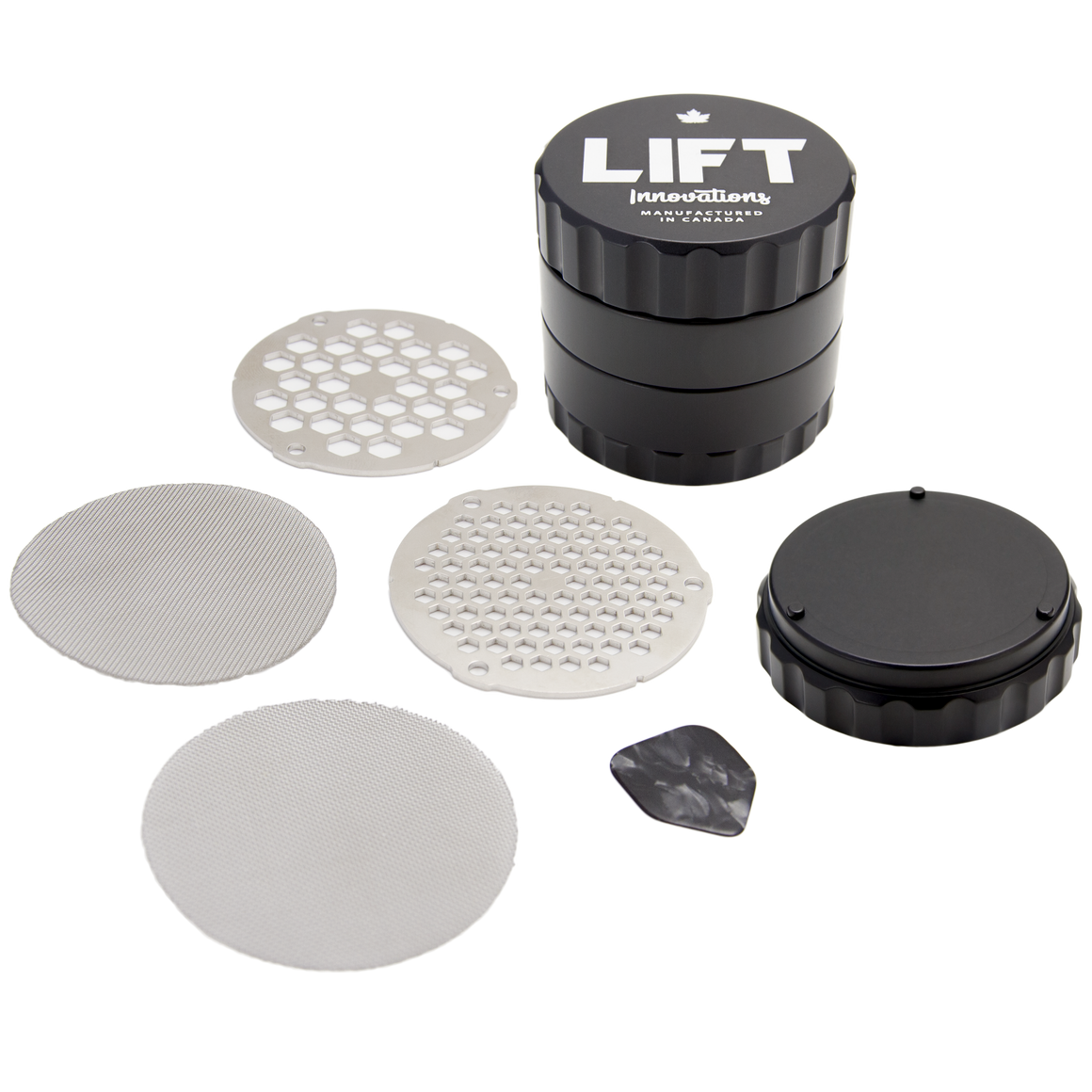 4 Piece BLACK Grinder with Accessories PRE-ORDER for shipping on July 15, 2020