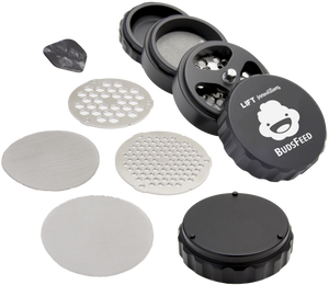 BudsFeed 4 Piece BLACK Grinder with Accessories