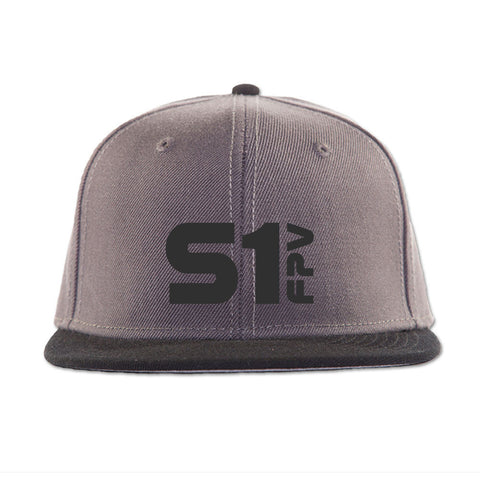 S1 FPV 3D puff logo embroidered hat - charcoal grey with black letters