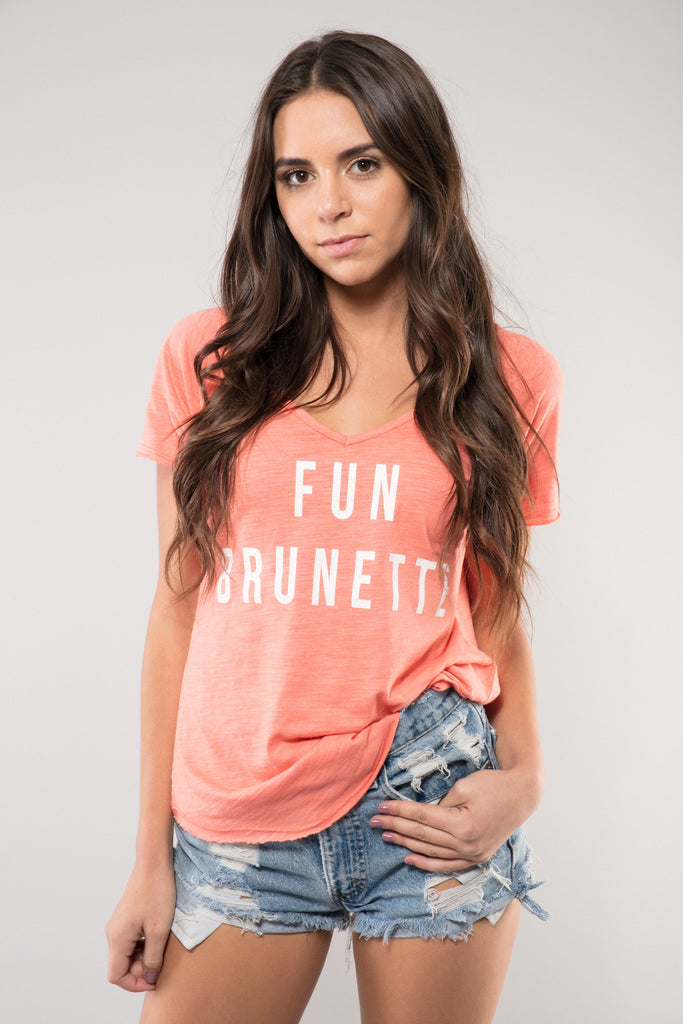 Fun Brunette V-Neck Tee