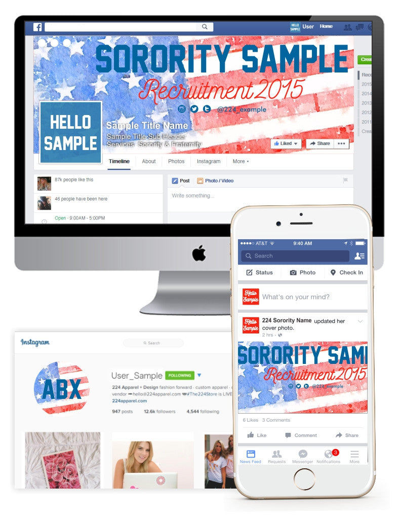 Stars + Stripes Watercolor Customized Social Media Package