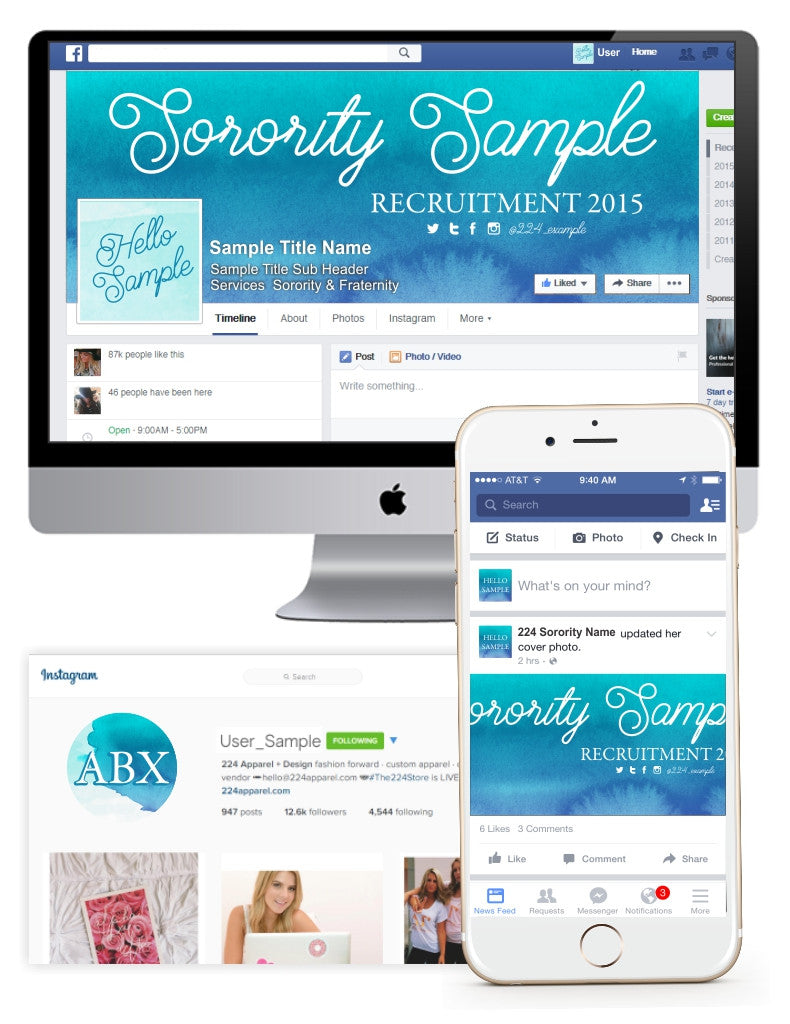 Ombre Teal Watercolor Customized Social Media Package