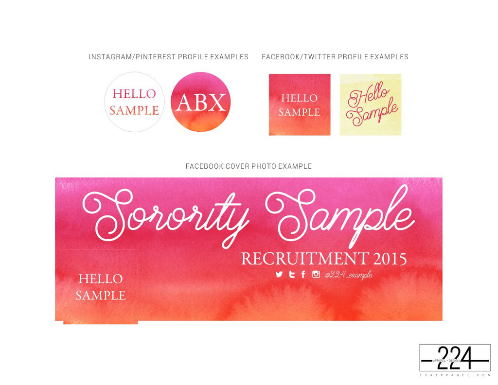 Ombre Pink Watercolor Customized Social Media Package