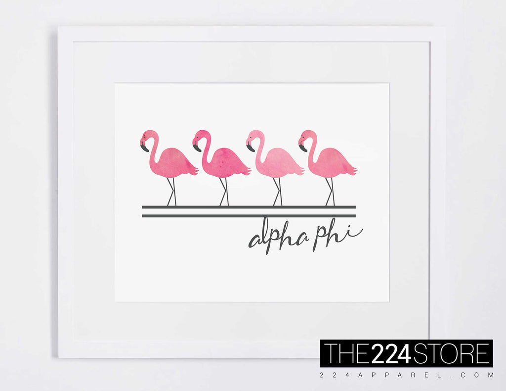 Alpha Phi Watercolor Pink Flamingos