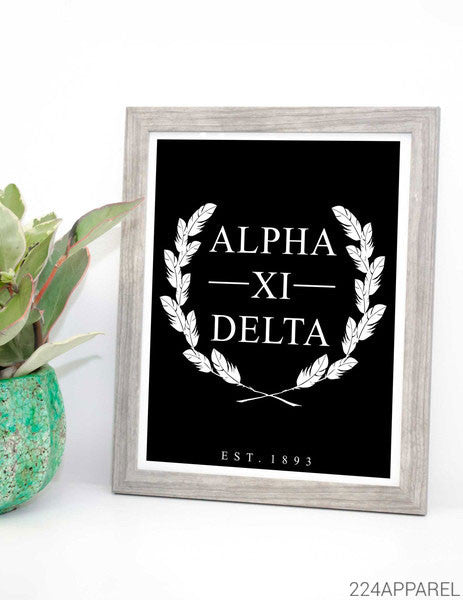 Alpha Xi Delta Feather Wreath