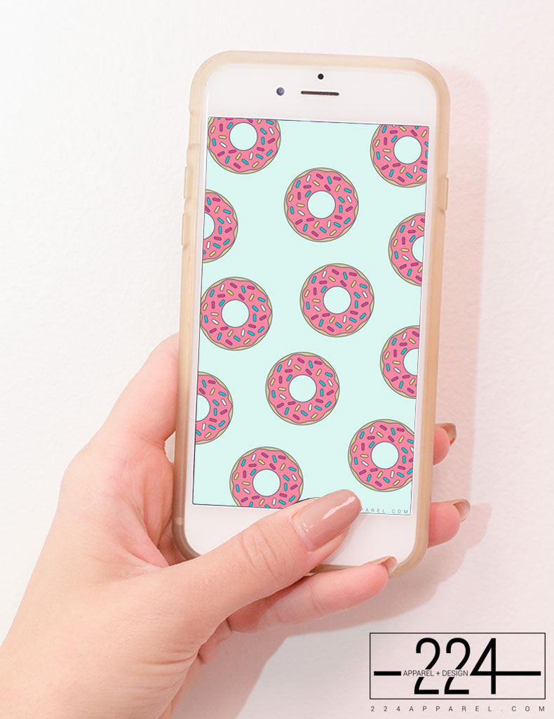 Donut Worry Be Happy Pattern iPhone Wallpaper FREE Instant Download!
