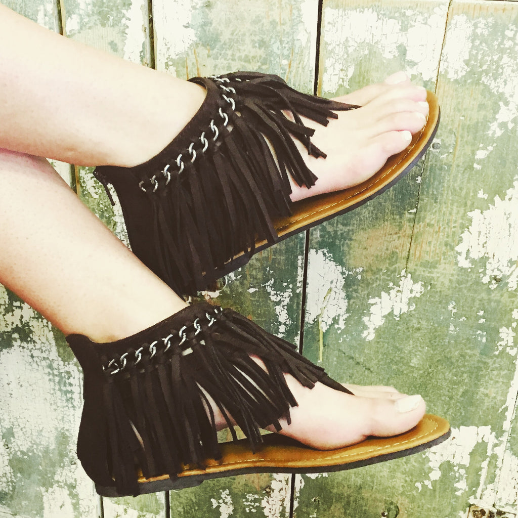 Brown Marlo Fringe Sandals