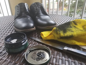 Black Beeswax Shoe Wax On Men's Dress Shoes - Before & After