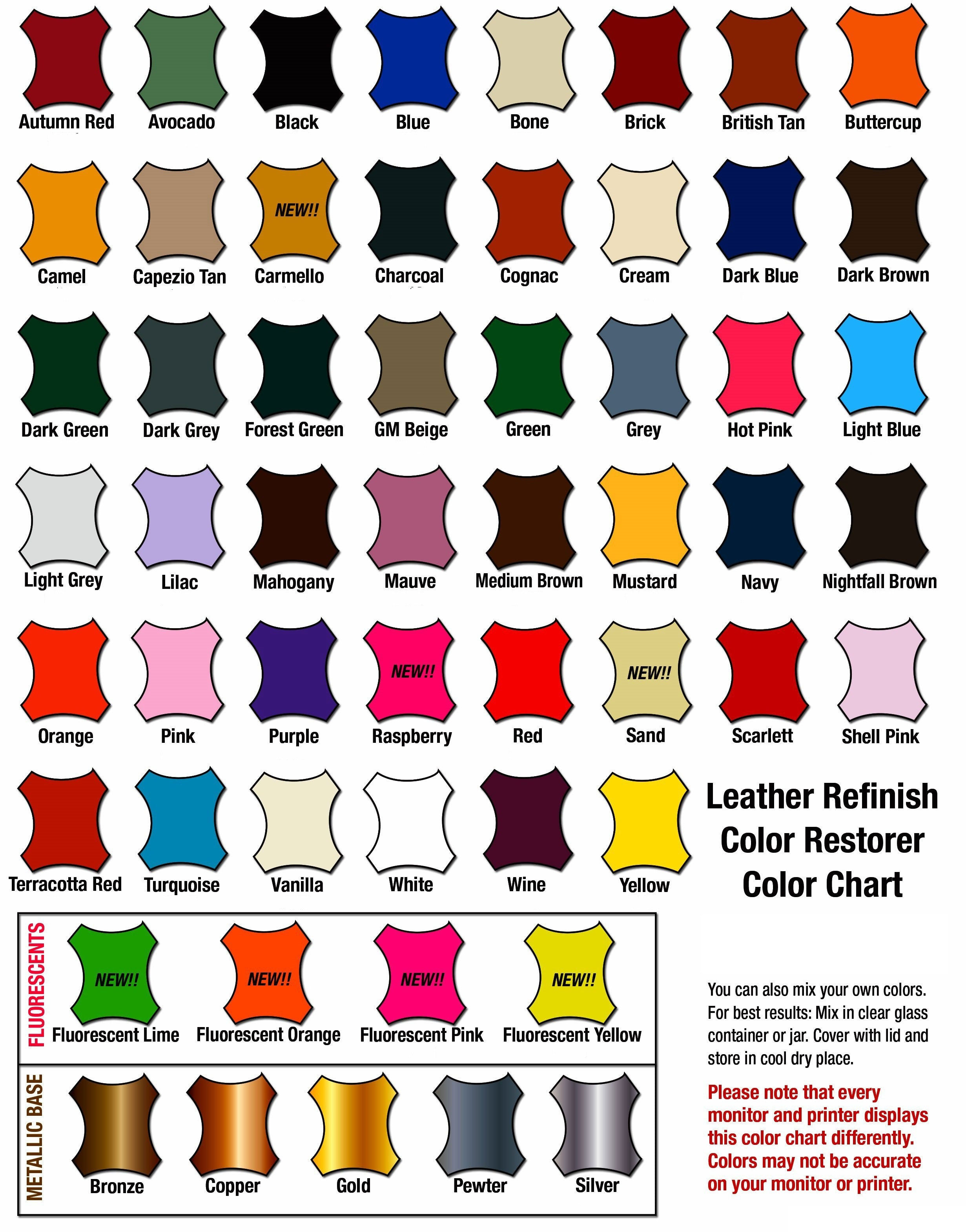 Leather refinish color chart nvjuhfo Image collections
