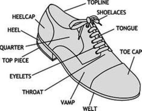 bed713d19a0bf The above picture is helpful in determining the names of the different  parts of the shoe. When using leather shoe cleaner or any other shoe care  accessories ...