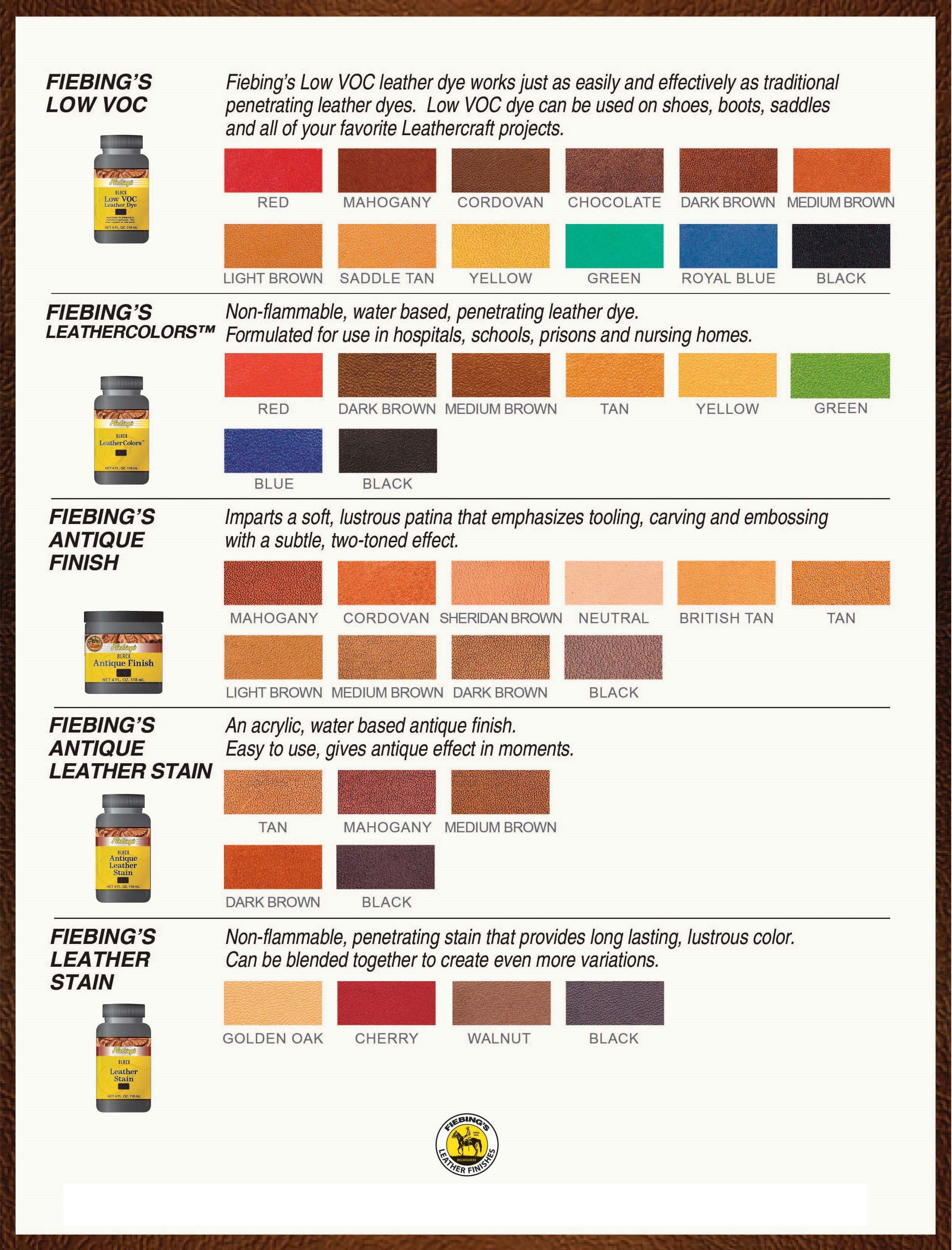 Fiebings paint dye color charts fiebingskellysshoecreamcolorchart fiebing stain finish color chart nvjuhfo Choice Image