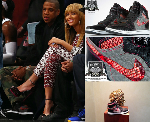 Picture: Getty Images - Jay Z & Beyonce - Jay Z's bespoke Jordan 1's by Pimp My Kicks (PMK customs) designed by Brooklyn Zoo - shoes made from Alligator, Stingray, Boa, Calf, Python, Ostrich, Crocodile, Lizard, and, surprisingly, Elephant