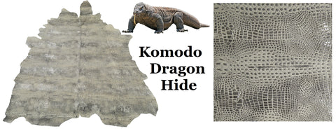 Photo: KeleenLeathers.com - Komodo-Dragon Hide - looks eerily similar to alligator hornback but note that the line patterns run east and west, (not north to south as they do on the alligator)