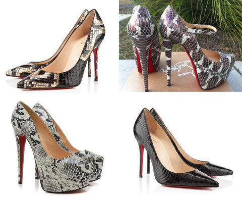 Photo: Christian Louboutin Decollete - water snake and python red-bottom heels