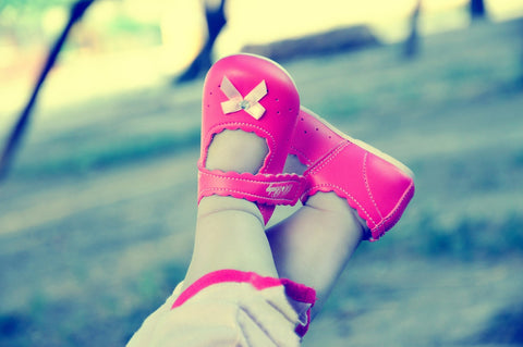 Pink shoes girl swing