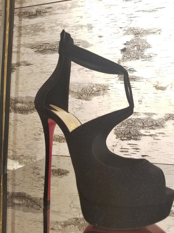 big Louboutin dark shoe 6 inch heel