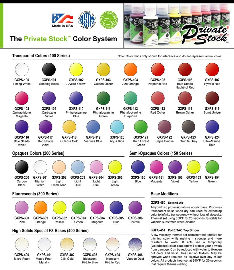 Grex Airbrush Paint Color Charts