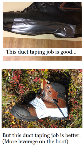 how to duct tape a sole to a shoe