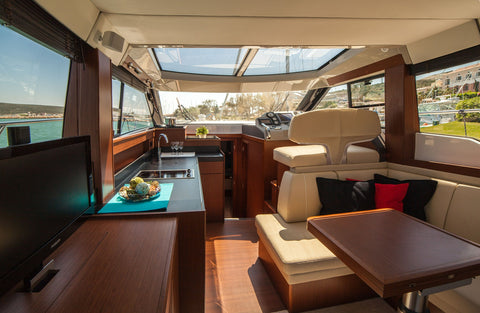 boat leather interior yacht yachting inside