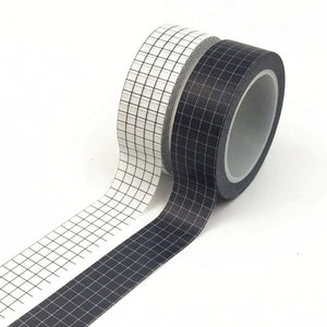 10M Black and White Grid Washi Transfer Tape | Japanese Paper Craft & Repair LCS