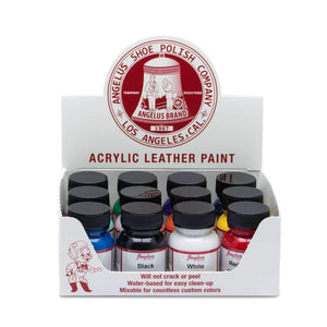Angelus Acrylic Leather Paint Starter Kit - 12 Colors Set - 1 oz Paint & Dye Angelus