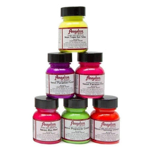 Angelus Small Neon Acrylic Leather Paint Starter Kit 1 oz - 6 Colors Paint & Dye Angelus