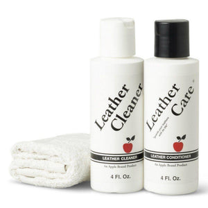 Apple Brand Leather Care Kit 4 oz Cleaner & 4 oz Conditioner + Cleaning Cloth Shoe & Leather Care Apple Brand