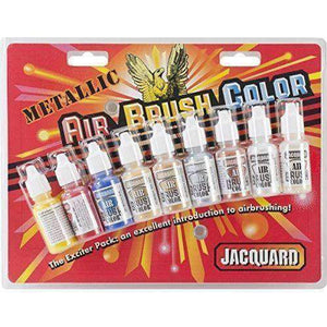 Jacquard Products Metallic Airbrush Exciter Pack, 8-Colors Paint & Dye Jacquard