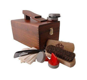 Kiwi Select Shoe Shine Care Kit Valet II Wooden Box w/ 10pc Content Shoe & Leather Care Kiwi