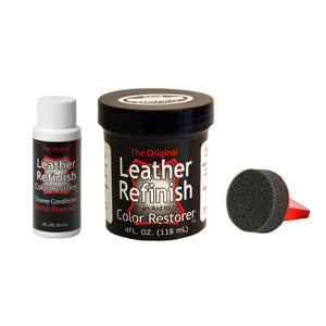 Leather Refinish Color Restorer Dye & Cleaner/Preparer Combo Kit w/Applicator Paint & Dye Leather Refinish