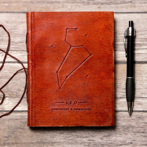 Leo Zodiac Handmade Leather Journal Custom Made Violet Charlie