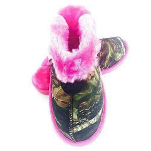 M&F Western Kid's Fleece Slide Slippers Mossy Oak/Hot Pink Slipper Large Footwear M&F Western