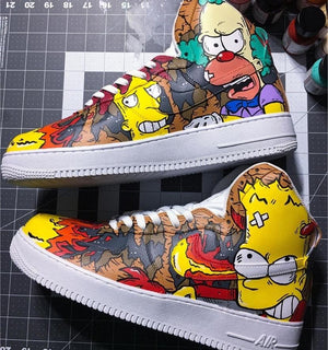"""Naughty Simpsons"" Nike Air Force 1 High ""On Fire"" Custom Shoes Custom Made Nike"