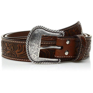 Nocona Men's Floral Embose Western Buckle Apparel Accessories Nocona 34 Dark Brown