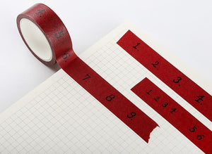 Red Number Series Measuring-Masking Washi Tape Craft & Repair LCS